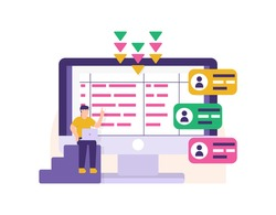 concept of data entry staff, server admin, data manager. illustration of a man sitting and entering user account data or identity into a computer database. storage technology. flat style design