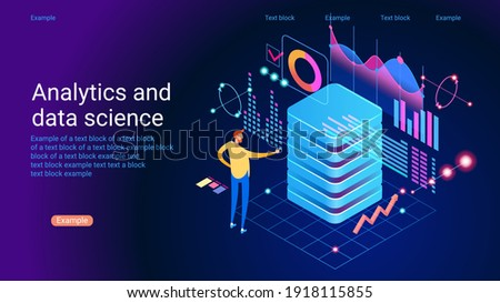 Concept of data research, technology, data analysis and science. Modern flat design isometric concept. Landing page template. Vector illustration