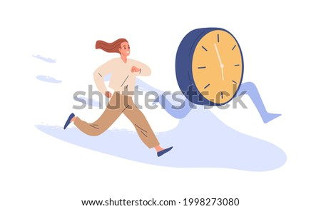 Concept of deadline and time pressure. Busy person and clocks running. Office worker trying to keep up with schedule and plan, doing it under the wire. Flat vector illustration isolated on white Foto stock ©