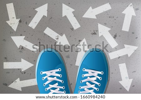 Concept of decision-making for a young person when choosing their orientation with the symbol, a pair of basketball seen from above surrounded by a multitude of arrows. Stockfoto ©
