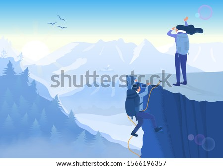Concept of determination, perseverance and never giving up in the face of a challenge with two mountaineers climbing a precipitous cliff to reach the summit of a mountain - achievement and success