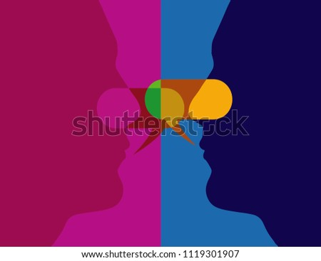 Concept of dialog with yourself, internal discourse. Introspective or Introspection.
