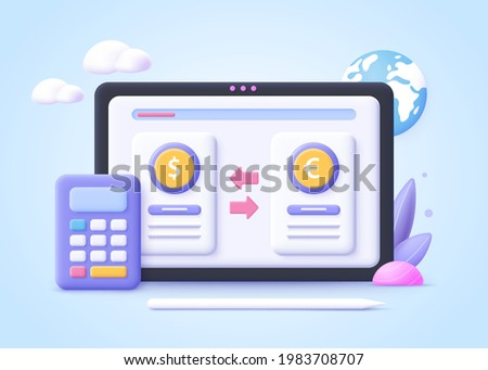 Concept of digital currency exchange. Finance, digital money market, cryptocoin wallet, stock exchange, online money transfer. 3d  vector illustration.