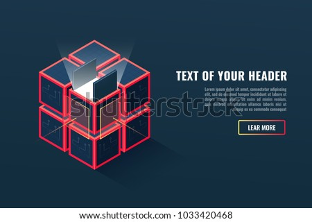 Concept of digital data or files extraction, archiving, backup copy of the project, up-dating program, blockchain technology, part of program complex isometric vector illustration