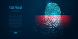 Concept of digital security, electronic fingerprint on scanning screen. Low poly wire outline geometric vector illustration. Particles, lines and triangles on blue background. Neon light.