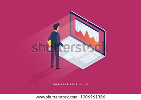 Concept of digital technology. Businessman standing in front of laptop and looks at growth statistics. 3d isometric flat design. Vector illustration.