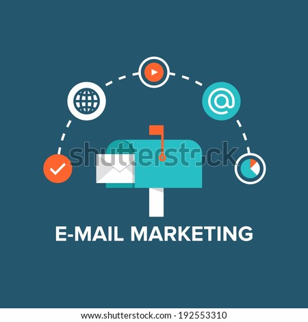 Concept of direct digital marketing, e-mail advertising communication, newsletter promotion campaign. Flat design style modern vector illustration concept. Isolated on stylish background.