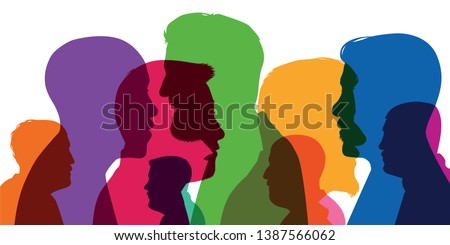 Concept of diversity, with silhouettes in color, showing different profiles of men at all ages, from high school student to retired
