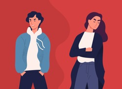 Concept of divorce, misunderstanding in family. Angry man and offended woman standing separately from each other. Relationship break up, crisis. Vector illustration in flat cartoon style.