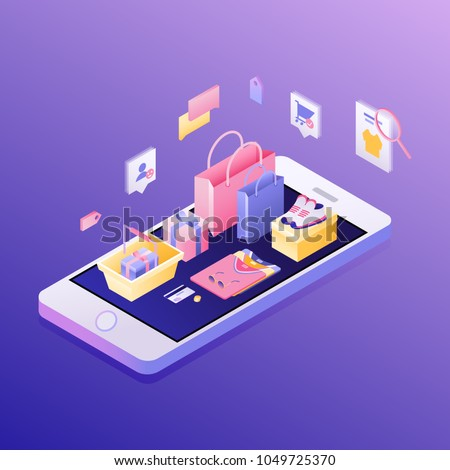 Concept of e-commerce sales, online shopping, digital marketing. Isometric vector illustration