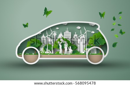 concept of eco car with family