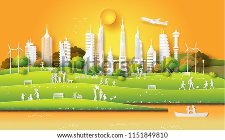 concept of eco friendly and save the earth and world environment day with the people enjoy  in the city park sunset time,Paper art and digital craft style