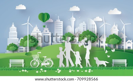 concept of eco with happy family walking on the field  .paper art and  digital craft style