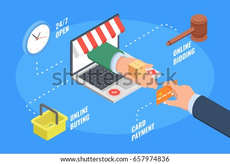 Concept of ecommerce online shopping payment of credit card isometric flat vector illustration