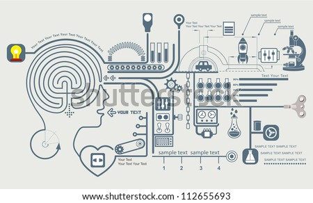 Concept of education and science, the functioning of the human body and the brain info graphics, Vector illustration of brain maze
