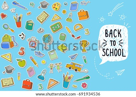 Concept of education. Back to school on blue background. Freehand drawing color school items.
