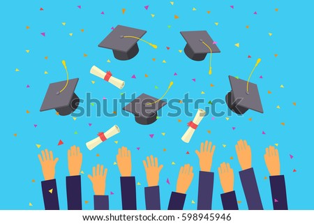 Concept of education. Graduates throwing graduation hats in the air.