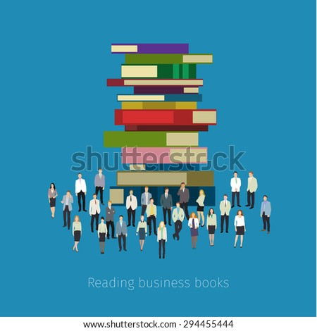 Concept of education. People crowd around books. Flat design, vector illustration