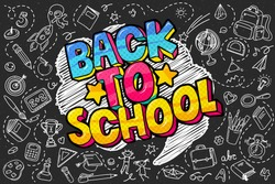 Concept of education. School background with hand drawn school supplies and comic speech bubble with Back to School lettering in pop art style on blackboard.