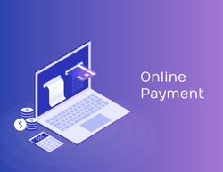 Concept of electronic bill and online bank, laptop with check tape and payment card. Modern 3d isometric vector illustration.