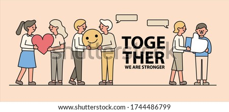Concept of Encouragement, Give off positive energy, Encourage positive change in others. Message of support. Simple Line Style. Flat design. Vector illustrations. Сток-фото ©