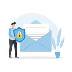 Concept of encryption of emails. Internet data protection, business assets security system. Vector illustration
