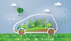 concept of Environmentally friendly  with eco car .paper art and  digital craft style.