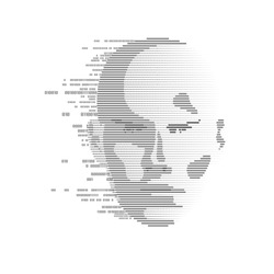 concept of face detection by scanning technology advancement,  human head combined with binary code