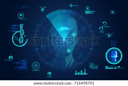 concept of face scanning, radar screen searching for brain signal