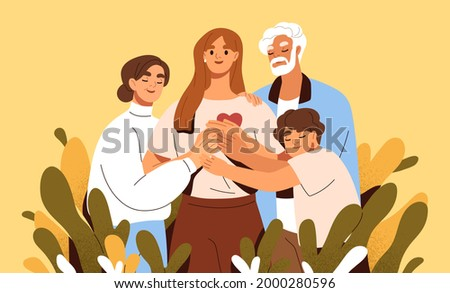 Concept of family support and care. Love and trust between woman and her parents. Happy mother, father, daughter and son hugging and holding hands together. Colored flat vector illustration