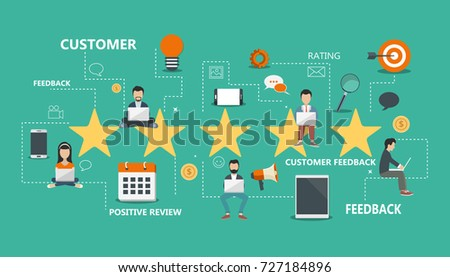 Concept of feedback, testimonials messages and notifications. Rating on customer service. Flat vector illustration