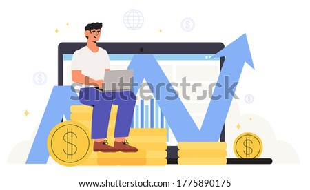 Concept of financial investments, business recovery and analysis, investment in innovation, marketing, banner, presentation. Economics strategy, analysis of sales, statistic grow data illustration.