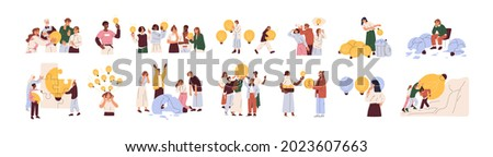 Concept of finding brilliant ideas. Set of creative people with light bulbs. Business teams with lightbulbs as symbol of solutions and knowledge. Flat vector illustrations isolated on white background