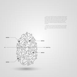Concept of fingerprint technology identification. Vector illustration.