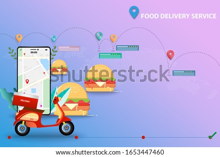 Concept of food delivery service, scooter is on front of smartphone which contain map and GPS. Hamburger are in the background together with map, route of shipments, customer rating and reviews.