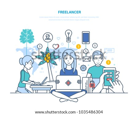 Concept of freelancers and remote work. Modern workplace of freelancer, equipment, technical equipment, workspace. Information technology, performance of work remotely. Illustration thin line design.