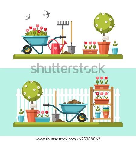 Concept of gardening. Garden tools. Banner with summer garden landscape. Vector illustration.