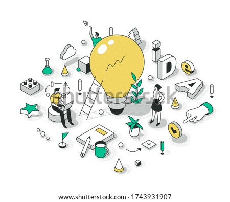 Concept of generating a great idea. The big light bulb as idea symbol. Innovations & creativity process. Brainstorming fresh ideas for a new project. Business startup isometric illustrations