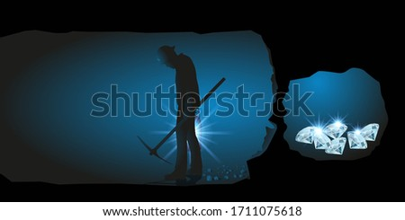 Concept of giving up on a man who stops digging while unknowingly reaching his goal and becoming wealthy. Сток-фото ©