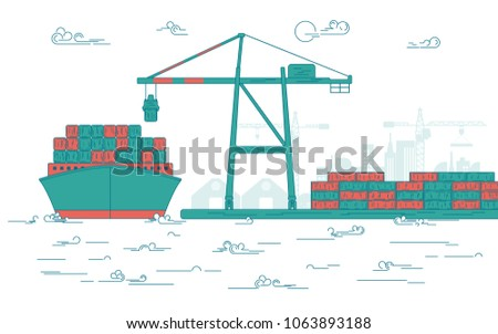 concept of global transportation, graphic of cargo port with operating equipment, vector of crane loading on industrial ship