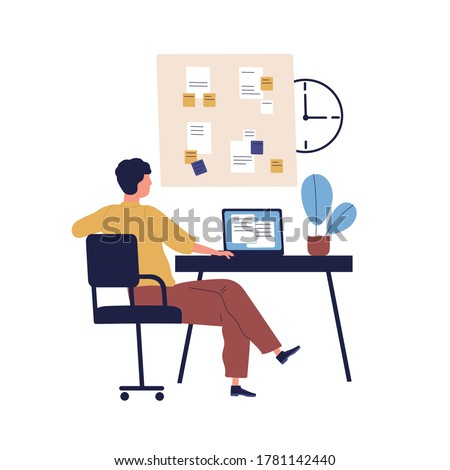 Concept of good time management, work plan. Organize schedule. Man, office manager at workplace with clock, board with task, agenda notes. Flat vector cartoon illustration isolated on white background