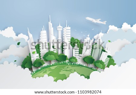 concept of green city and environment with building on sky. Paper art and digital craft style.