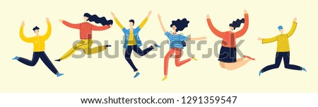 Concept of group of young people jumping on light background. Stylish modern vector illustration  with happy male and female teenagers enjoying the life  Сток-фото ©