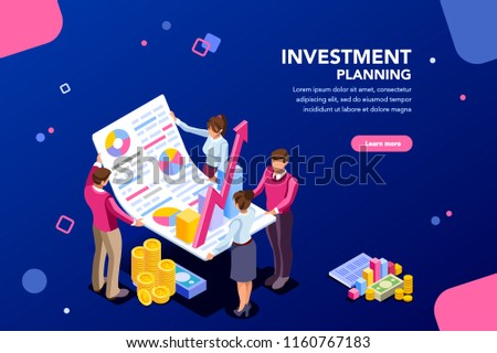 Concept of growth, financial partnership for investment. Meeting of account company to increase corporate results. Report concept with characters and text. Flat isometric images vector illustration.