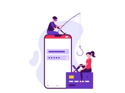 Concept of hacker attack, fraud investigation, internet phishing attack, evil win, personal privacy data, hacking and stealing email and money with tiny people. Vector illustration in flat design