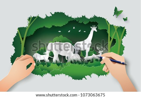 Concept of hand drawing with World Wildlife Day and environment with the animal in forest , Paper art and digital craft style.