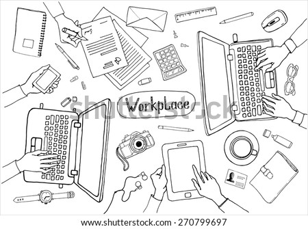 Concept of hand drawn business meeting and brainstorming. Items and elements, office things, objects and equipment for workplace design. Vector illustration set of business elements top view.
