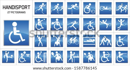 Concept of handicap and sports performance with pictograms representing the main handicapped sports at the Olympic games. Stock photo ©