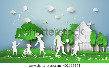 concept of happy family having fun .paper art style.