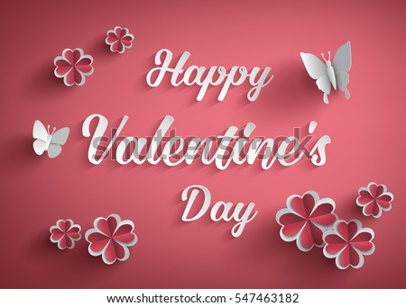 Concept of happy valentine day,text on red background with butterfly and heart flower , Paper art and craft style.